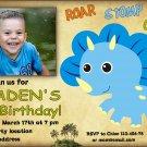 Blue Dino birthay invitation,Dinosaur birthay invite,Dinosaur thank you card FREE--145