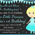 Little princess birthday invitation,Little princess invite,Little princess thank you card FREE--149
