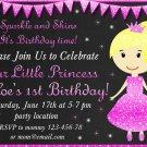 Little princess birthday invitation,Little princess invite,Little princess thank you card FREE--150
