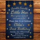 Little star birthday invitation,Little star invite,Little star thank you card FREE--151