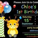 Giraffe birthday invitation,Safari animals invite,Giraffe thank you card FREE--172