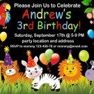Jungle Safari birthday invitation,Jungle Safari animals invite,Safari thank you card FREE--173