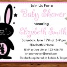 Pink Rabbit baby shower invitation,Rabbit baby shower invite--176
