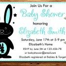 Blue Rabbit baby shower invitation,Rabbit baby shower invite--176