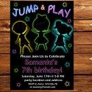 Neon jump and play birthay invitation,jump and play invite,jump and play thank you card FREE--177