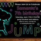 Neon jump and play birthay invitation,jump and play invite--178
