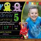 Monster birthday invitation,Monster invite,Monster thank you card FREE--190