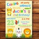 Safari animals birthday invitation,Safari animals birthday invite--206