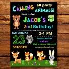 Woodland animals birthday invitation,Woodland animals birthday invite--2 0 7
