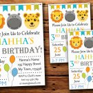 Safari animals birthday invitation,Safari animals birthday invite--221