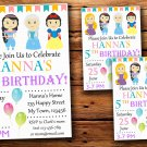 Princess birthday invitation,Princess animals birthday invite--222