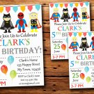 Super hero birthday invitation,Super hero birthday invite--224