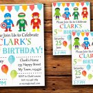 Super hero birthday invitation,Super hero birthday invite--225