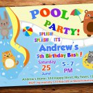 Pool party animals birthday invitation,Pirate birthday invite--229