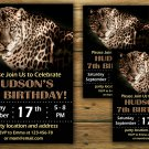 Leopard birthday invitation,Leopard birthday invite,Safari birthday invitation