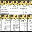 Sunflower Birthday Games package,Adult Birthday Games,9 Birthday Games,INSTANT DOWNLOAD