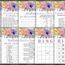 Watercolor flowers Birthday Games package,Adult Birthday Games,9 Birthday Games,INSTANT DOWNLOAD