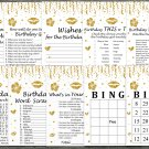 Gold glitter Birthday Games package,Adult Birthday Games,9 Birthday Games,INSTANT DOWNLOAD