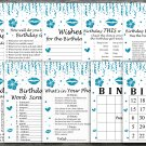 Blue glitter Birthday Games package,Adult Birthday Games,9 Birthday Games,INSTANT DOWNLOAD