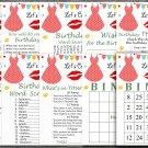Polka dot dress Birthday Games package,Adult Birthday Games,9 Birthday Games,INSTANT DOWNLOAD
