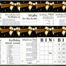 Golden bow Birthday Games package,Adult Birthday Games,9 Birthday Games,INSTANT DOWNLOAD