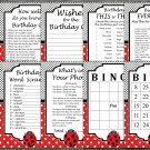 Ladybug Birthday Games package,Adult Birthday Games,9 Birthday Games,INSTANT DOWNLOAD