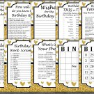Gold glitter heart Birthday Games package,Adult Birthday Games,9 Birthday Games,INSTANT DOWNLOAD