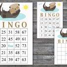 Otter bingo game,Otter bingo card,birthday bingo card,60 Printable card,INSTANT DOWNLOAD--380