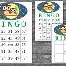 Owl bingo game,Owl bingo cards,birthday bingo games,60 Printable card,INSTANT DOWNLOAD--365