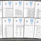 Blue bunny baby shower games package,Rabbit baby shower games package ,9 Games,INSTANT DOWNLOAD-314