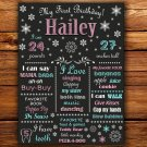 Christmas 1st birthday poster,snowflakes 1st birthday poster, 1st birthday poster
