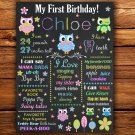 owls 1st birthday poster,forest animals 1st birthday poster, 1st birthday poster