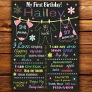 kids clothesline 1st birthday poster,kids clothes 1st birthday poster