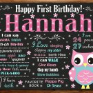 owl 1st birthday poster,pink owl 1st birthday poster