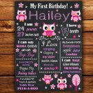pink owls 1st birthday poster,pink owls 1st birthday poster,pink owl birthday poster