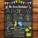 dinosaurs 1st birthday poster,cute dino 1st birthday poster,cute dinosaur birthday poster