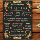 spring flowers 1st birthday poster,floral 1st birthday poster, flowers birthday poster