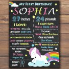unicorn 1st birthday poster,rainbow 1st birthday poster,unicorn birthday poster