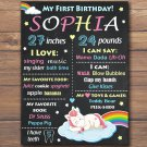 unicorn 1st birthday poster,rainbow unicorn 1st birthday poster,unicorn birthday poster