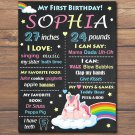 unicorn 1st birthday poster,rainbow unicorn 1st birthday poster,rainbow unicorn birthday poster