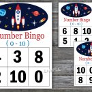Bingo kids 0-10,Rocket Bingo Game,Space Bingo Game,Number Bingo,32 Printable Cards,INSTANT DOWNLOAD
