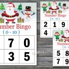 Bingo kids 0-10,Christmas Bingo Game,Santa Claus Bingo Game,Number Bingo,INSTANT DOWNLOAD