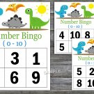 Bingo kids 0-10,Dinosaur Bingo Game,Dino Bingo Game,Number Bingo,32 Printable Cards,INSTANT DOWNLOAD