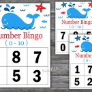 Bingo kids 0-10,Whale Bingo Game,Nautical Bingo Game,Number Bingo,INSTANT DOWNLOAD