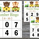 Bingo kids 0-10,Animals train Bingo Game,Baby animal Bingo Game,Number Bingo,INSTANT DOWNLOAD