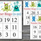 Bingo kids 0-20,Monster Bingo Game,Monster Bingo cards,Number Bingo,INSTANT DOWNLOAD