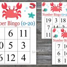 Bingo kids 0-20,Crab Bingo Game,Under the sea Bingo cards,Number Bingo,INSTANT DOWNLOAD