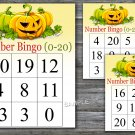 Bingo kids 0-20,halloween Bingo Game,halloween Bingo cards,Number Bingo,INSTANT DOWNLOAD