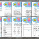 Under the sea baby shower games package,nautical baby shower games pack,9 Games,INSTANT DOWNLOAD-330
