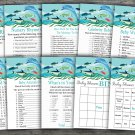 Under the sea baby shower games package,nautical baby shower games pack,9 Games,INSTANT DOWNLOAD-331